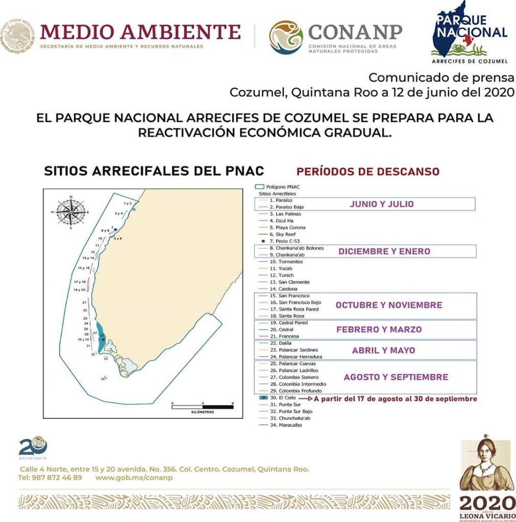 Cozumel Marine Park Schedule for closures